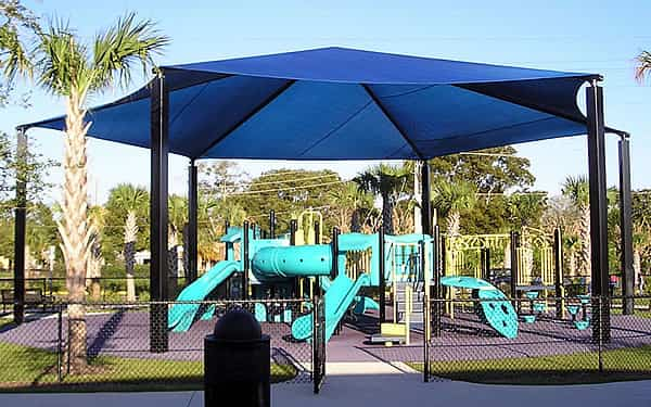 hexagon shade structure for a playground