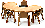 Kidney-shaped and U-shaped classroom tables from BaseLine and Angeles