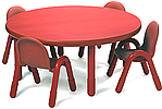 Round classroom tables from BaseLine and Angeles