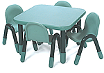Square classroom tables from BaseLine and Angeles