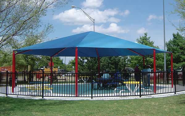 Octagon and hexagon shade structures for Sun shade structure