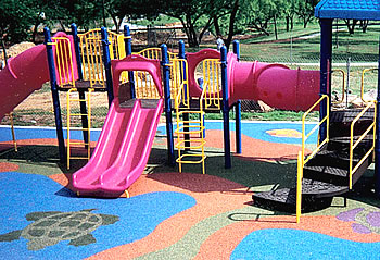 Poured in Place synthetic playground surfacing comes in many colors.