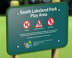 a sign for a playground or park