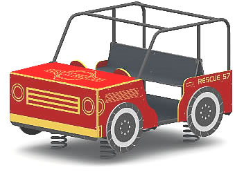 Spring animals, spring toys, spring riders - firetruck - playground equipment