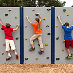 outdoor climbing walls with gray panels