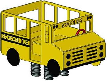 Spring animals, spring toys, spring riders - school bus - playground equipment