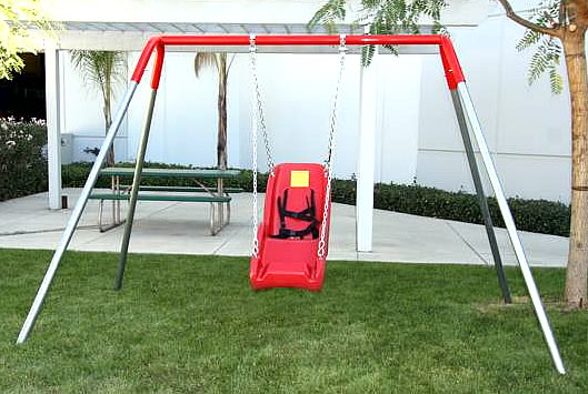 Special needs playground equipment :: ADA swing frame :: Single Bay